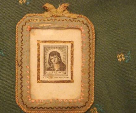 Relicario cristal antiguo Virgen del Milagro. Cocentaina, siglo XIX. escapulario, Mare Deu